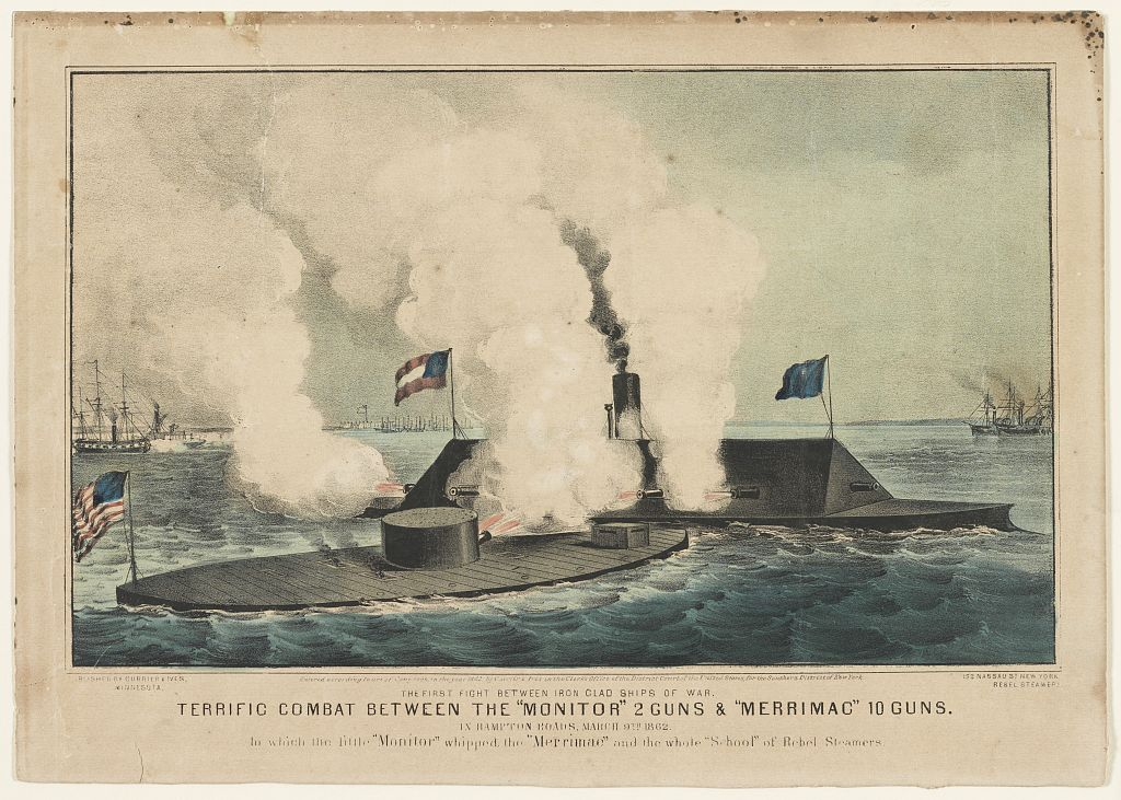 the battle between the uss monitor and the css merrimack Sixteen men were lost when the uss monitor went down in a storm off cape  hatteras on dec 31, 1862, while it was being towed the sunken.